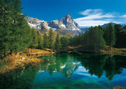 Blue Lake, Cervino, Italy (Matterhorn) (CLE 30360), a 500 piece jigsaw puzzle by Clementoni. Click to view larger image.
