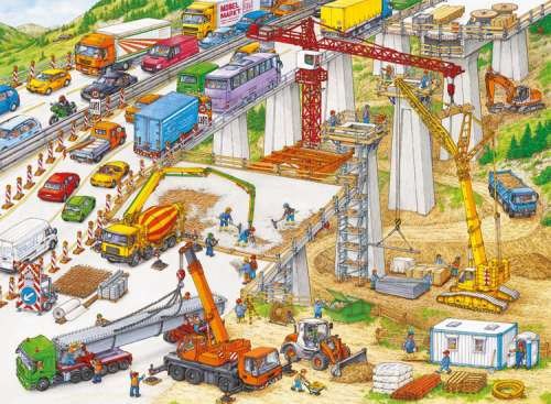 Construction Site (RB10896-1), a 100 piece jigsaw puzzle by Ravensburger. Click to view larger image.