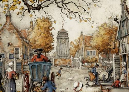 The Village Square (JUM13016), a 1000 piece jigsaw puzzle by Jumbo. Click to view larger image.