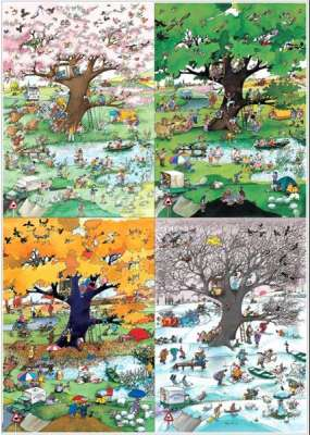 4 Seasons (HEY29340), a 2000 piece jigsaw puzzle by HEYE. Click to view larger image.