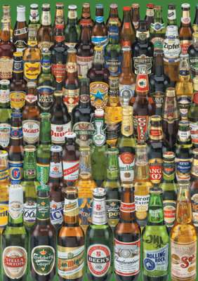 Beers of the World (EDU12736), a 1000 piece jigsaw puzzle by Educa. Click to view larger image.