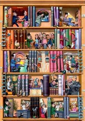 Books (HEY29234), a 1500 piece jigsaw puzzle by HEYE. Click to view larger image.