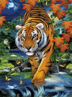 On the Prowl (3D effect) (CLE 39185), a 1000 piece jigsaw puzzle by Clementoni. Click to view larger image.