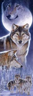 Spirits (Wolves) (SUN34630), a 500 piece jigsaw puzzle by Sunsout. Click to view larger image.