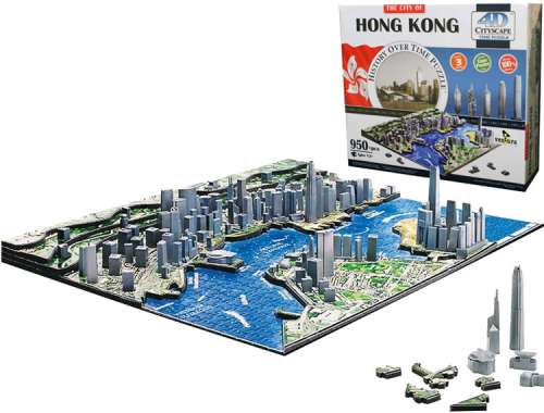 4D Cityscape - Hong Kong (VEN400265), a 858 piece jigsaw puzzle by Ventura Games. Click to view larger image.