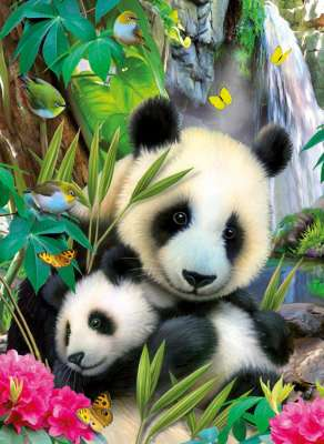 Cuddling Panda (RB13065-8), a 300 piece jigsaw puzzle by Ravensburger. Click to view larger image.
