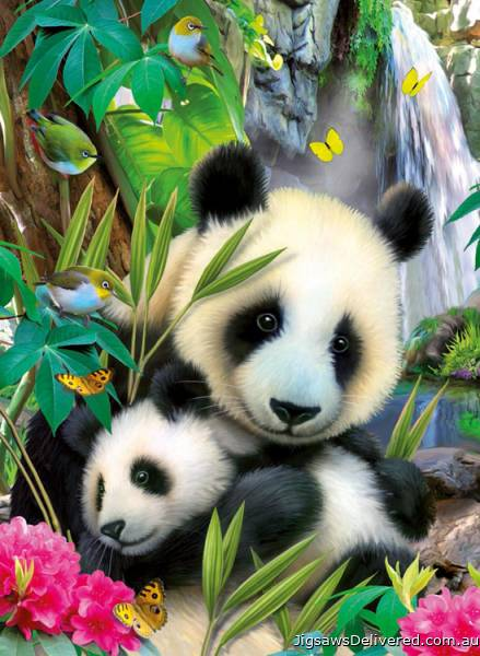 Cuddling Panda (RB13065-8), a 300 piece jigsaw puzzle by Ravensburger.