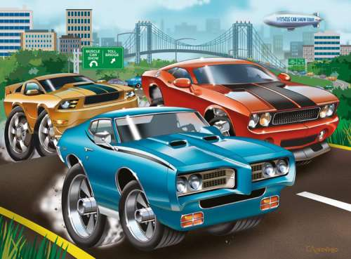 Muscle Cars (RB09591-9), a 60 piece jigsaw puzzle by Ravensburger. Click to view larger image.