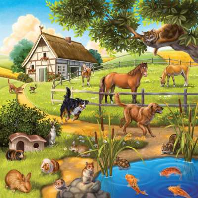 Forest Zoo & Pets (3 x 49pc) (RB09265-9), a 49 piece jigsaw puzzle by Ravensburger. Click to view larger image.