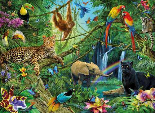 Animals in the Jungle (RB12660-6), a 200 piece jigsaw puzzle by Ravensburger. Click to view larger image.