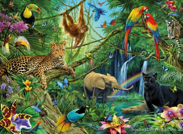 Animals in the Jungle (RB12660-6), a 200 piece jigsaw puzzle by Ravensburger.