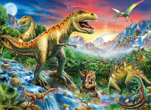 Time of the Dinosaurs (RB10665-3), a 100 piece jigsaw puzzle by Ravensburger. Click to view larger image.