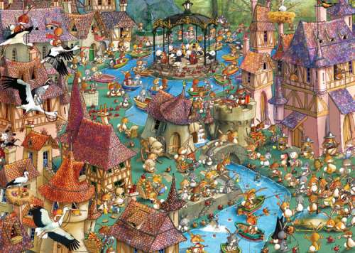 Bunnytown (HEY29496), a 1000 piece jigsaw puzzle by HEYE. Click to view larger image.
