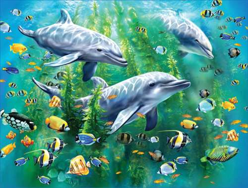 Dolphin Trio (RB10605-9), a 100 piece jigsaw puzzle by Ravensburger. Click to view larger image.