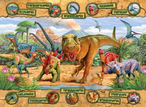 Dinosaurs (RB10609-7), a 100 piece jigsaw puzzle by Ravensburger. Click to view larger image.