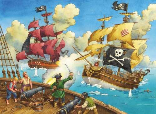 Pirate Battle (RB10666-0), a 100 piece jigsaw puzzle by Ravensburger. Click to view larger image.