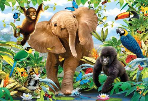 Jungle Juniors (Giant Floor Puzzle) (RB05347-6), a 24 piece jigsaw puzzle by Ravensburger. Click to view larger image.
