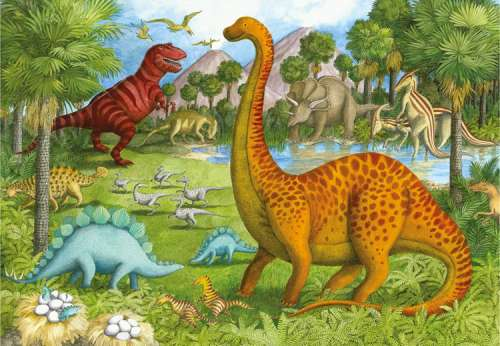 Dinosaur Pals (Giant Floor Puzzle) (RB05266-0), a 24 piece jigsaw puzzle by Ravensburger. Click to view larger image.