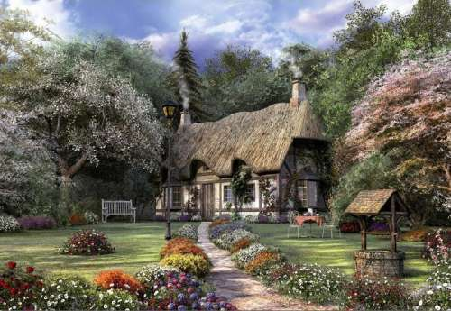 Rose Cottage (EDU15165), a 1500 piece jigsaw puzzle by Educa. Click to view larger image.