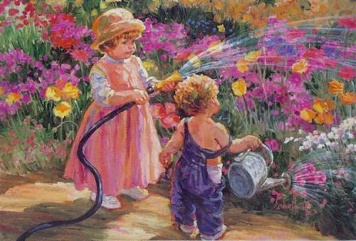 Garden of Innocence (Flower Tots) (HOL092987), a 500 piece jigsaw puzzle by Holdson. Click to view larger image.
