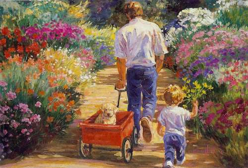 A Walk with Dad (Flower Tots) (HOL092956), a 500 piece jigsaw puzzle by Holdson. Click to view larger image.
