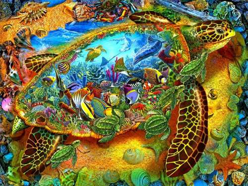 Sea Turtle World (SUN39286), a 1000 piece jigsaw puzzle by Sunsout. Click to view larger image.