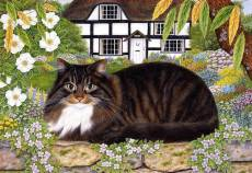 On the Garden Wall (Country Cats) (HOL092338), a 500 piece Holdson jigsaw puzzle.