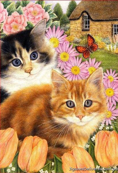 Springtime Pals (Country Cats) (HOL092307), a 500 piece jigsaw puzzle by Holdson.