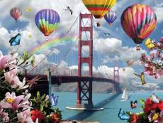 Golden Gate Balloons (SUN34937), a 500 piece Sunsout jigsaw puzzle.