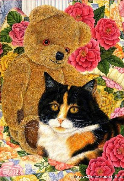 Bear Comfort (Country Cats) (HOL092314), a 500 piece jigsaw puzzle by Holdson.