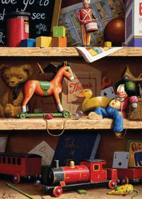 Toy Shelf (Large Pieces) (RB13557-8), a 300 piece jigsaw puzzle by Ravensburger. Click to view larger image.