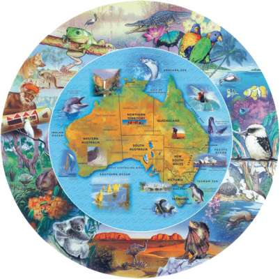 Australian Map (Shaped Puzzle) (BL01879), a 100 piece jigsaw puzzle by Blue Opal. Click to view larger image.