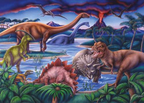 Dinosaur Playground (RB08613-9), a 35 piece jigsaw puzzle by Ravensburger. Click to view larger image.