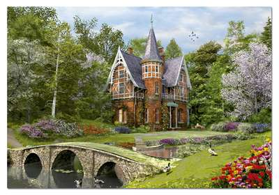Cobbled Bridge Cottage (EDU15519), a 1000 piece jigsaw puzzle by Educa. Click to view larger image.