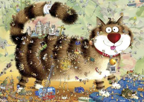 Cat's Life (HEY29569), a 1000 piece jigsaw puzzle by HEYE. Click to view larger image.