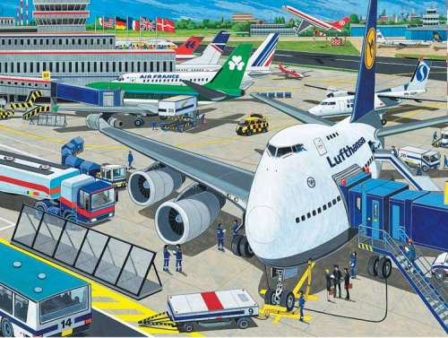 Airport (RB10763-6), a 100 piece jigsaw puzzle by Ravensburger. Click to view larger image.