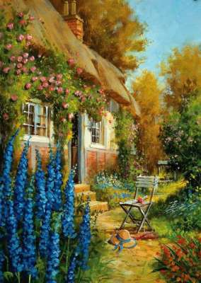 Rose Cottage (HOL093274), a 1000 piece jigsaw puzzle by Holdson. Click to view larger image.