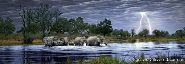 Herd of Elephants (HEY29508), a 2000 piece jigsaw puzzle by HEYE.