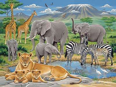 Animals In Africa (RB12736-8), a 200 piece jigsaw puzzle by Ravensburger. Click to view larger image.