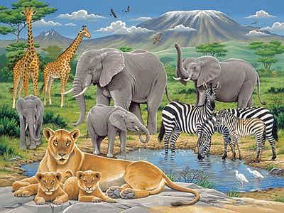 Animals In Africa (RB12736-8), a 200 piece jigsaw puzzle by Ravensburger.
