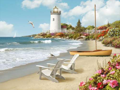 Sunlit Shores (Large Pieces) (RB13535-6), a 300 piece jigsaw puzzle by Ravensburger. Click to view larger image.
