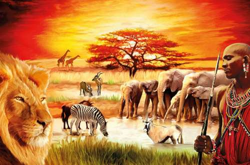 Proud Masai (RB17056-2), a 3000 piece jigsaw puzzle by Ravensburger. Click to view larger image.