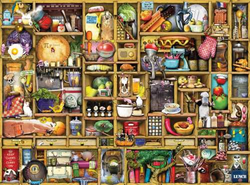 The Kitchen Cupboard (RB19298-4), a 1000 piece jigsaw puzzle by Ravensburger. Click to view larger image.