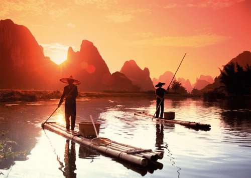 Chinese Fishermen (RB19085-0), a 1000 piece jigsaw puzzle by Ravensburger. Click to view larger image.