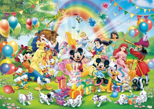 Disney Mickey's Birthday (RB19019-5), a 1000 piece jigsaw puzzle by Ravensburger. Click to view larger image.