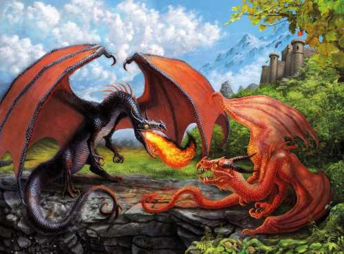 Flight of the Dragon (RB12708-5), a 200 piece jigsaw puzzle by Ravensburger. Click to view larger image.