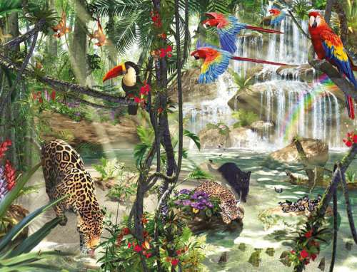 Jungle Impressions (RB16610-7), a 2000 piece jigsaw puzzle by Ravensburger. Click to view larger image.