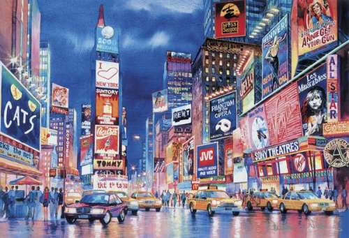 Times Square (Glow in the Dark) (CLE 39249), a 1000 piece jigsaw puzzle by Clementoni. Click to view larger image.