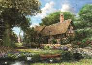 Riverbank Cottage (JUM11017), a 1000 piece Jumbo jigsaw puzzle.