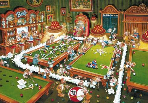 Billiards (HEY29232), a 1000 piece jigsaw puzzle by HEYE. Click to view larger image.